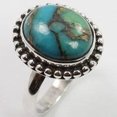 Gorgeous Ring Size US 5.75 BLUE COPPER TURQUOISE Gemstone 925 Sterling Silver #SunriseJewellers