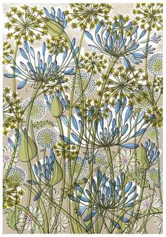 Angie Lewin is a lino print artist, wood engraver, screen printer and painter depicting the UK's natural flora in linocut and other limited edition prints. Art Floral, Motif Floral, Angie Lewin, Wood Engraving, Linocut Prints, Botanical Art, Flower Art, Printmaking, Screen Printing