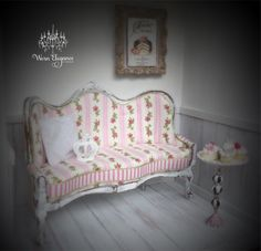 Dollhouse Miniature Shabby French Sofa, 1:12, Distressed Wooden Frame with Pink and Ivory Shabby Roses and Striped Fabrics, Pale Green Trim by WornElegance on Etsy https://www.etsy.com/listing/401011879/dollhouse-miniature-shabby-french-sofa