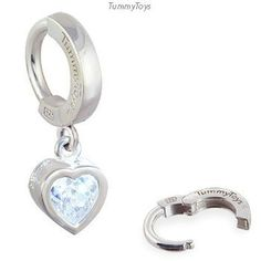 Steel Heart Multi Color Paved Gems Chain Lock and Key Navel Ring Freedom Fashion 316L S Rings