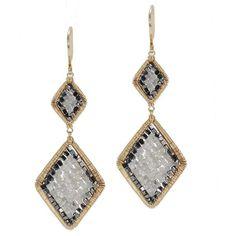 Dana Kellin Grey Black Diamond Arrowhead Yellow Gold Spun Wire Dangle... (45.180 ARS) ❤ liked on Polyvore featuring jewelry, earrings, black diamond earrings, long earrings, wire wrapped earrings, 14k yellow gold earrings and 14 karat gold earrings