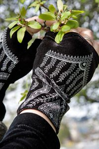 Polonova Mehndi Hearts Wrist Warmers - The same gorgeous pattern as the  Mehndi Tabi Socks , but for your hands! Hand made by Deborah Polonoff in Portland, Oregon.    Stock is limited right now and, because they're handmade, it will continue to be. If you sign up for email notification you'll get an email the day there is more available! We'll keep getting more, just slowly!