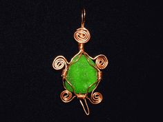 Copper wire-wrap turtle pendant green