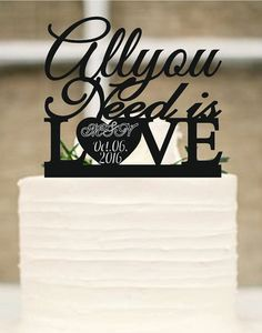 All You Need is Love Cake Topper-Rustic Wedding Cake