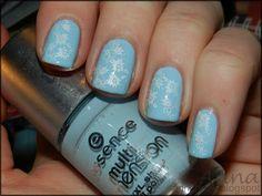 pastel blue + flowers polish