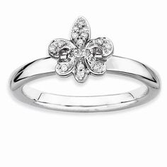 Fine Jewelry Personally Stackable 1/10 CT. T.W. Diamond Two-Tone Flower Ring PZcX6