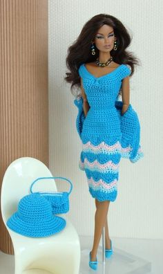 .Crochet dress and hat for Fashion Royalty dolls.  Azul  crochet **+