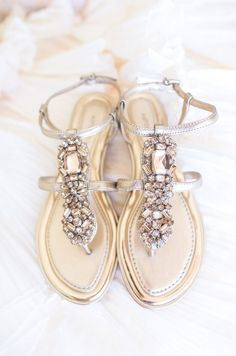 Jeweled flat wedding sandals: these beauties are perfect for a summer wedding, a wedding on the beach, or any formal affair.