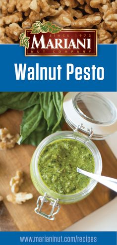 No pine nuts to make pesto? Give walnuts a try instead! Get a taste of summer in the middle of winter by combining walnuts with hothouse fresh basil, parmesan cheese and garlic. It's the perfect marinade for chicken or to add to sautéed vegetables. Italian Dishes, Italian Recipes, Vegetarian Recipes, Cooking Recipes, Healthy Recipes, Guacamole, Walnut Pesto, Marinade Sauce, Sauteed Vegetables