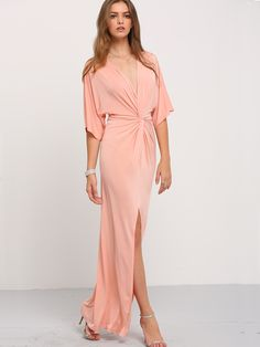 6a7c6381f09ff SHEIN offers Light Pink Half Sleeve Knot Split Maxi Dress   more to fit  your fashionable needs.