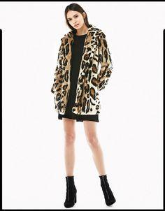 Leopar desenli suni kürklü kaban - Palto & Ceketler - Bershka Turkey