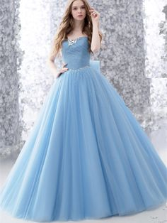 Tulle Sleeveless Strapless Romantic Bow Beads A-line Evening Dress_Buy High Quality Dresses from Dress Factory Evening Dresses, Prom Dresses, Wedding Dresses, Cheap Quinceanera Dresses, Tulle Wedding Gown, Long Formal Gowns, Quince Dresses, Beautiful Gowns, Dream Dress