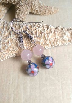 Rose Quartz & Periwinkle Cloisonne dangle earrings! Handcrafted with Sterling Silver and twinkling Swarovski crystals! Check out this item in my Etsy shop https://www.etsy.com/listing/399993693/rose-quartz-periwinkle-cloisonne-drop