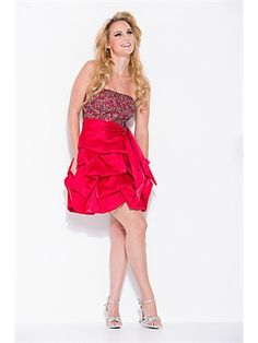 d859bb3f2ee A-line Strapless Satin Short Mini Red Pick-Ups Prom Dress Cocktail Attire