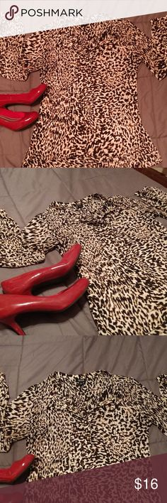 a.n.a Leopard Print Blouse Soo hot! Professional but sassy! Great condition, buttons up half way. So great with black leggings a.n.a Tops Blouses