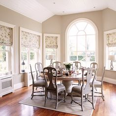 Neutral dining room with arched window | Dining room decorating | Country Homes & Interiors | Housetohome.co.uk