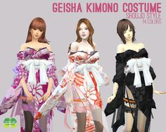 Geisha Kimono Costume for The Sims 4 by Cosplay Simmer Sims 4 Mods Clothes, Sims 4 Clothing, Sims Mods, The Sims 4 Lots, Concept Clothing, Sims 4 Characters, The Sims 4 Download, Sims 4 Cc Finds, Maid Dress