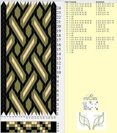 Tre mønster til brikkevev, vikingstil. Flere mønster til brikkeveving finner du her....