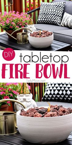 Not everyone has the space for a full-size fire pit, this DIY tabletop fire bowl is the perfect solution. With just a few supplies and a few minutes, you can sit back to enjoy the ambiance and warm glow of the flame. Perfect for a gathering any tim Fire Pit Bowl, Fire Pit Ring, Wood Fire Pit, Concrete Fire Pits, Diy Fire Pit, Fire Pit Backyard, Diy Table Top, A Table, Fresco