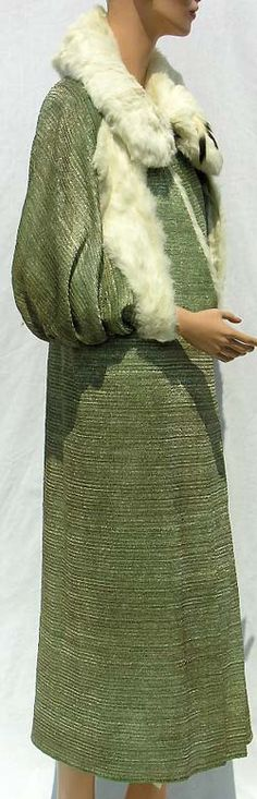 1920s Ermine Lined Green & Metallic Gold Lamé Opera Cape. @Deidré Wallace