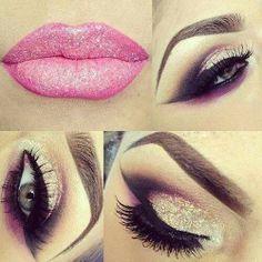 make up guide Sparkles! make up glitter;make up brushes guide;make up samples; Kiss Makeup, Glitter Makeup, Cute Makeup, Gorgeous Makeup, Pretty Makeup, Hair Makeup, Pink Glitter, Sparkle Makeup, Glamorous Makeup