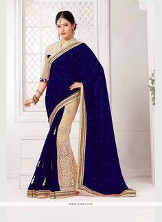 Breathtaking Net Blue Classic Designer Saree Model: YOSAR7301