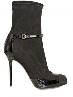 Sergio Rossi110mm Suede Stretch Patent Low Boots