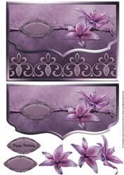Pretty Lilies Paarse Fancy geschulpte rand Envelop Card
