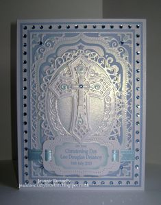 Another Christening Card using Spellbinders Elegant Labels Four, this time in Baby Blue with Spellbinders Floral Ovals and Crosses Two