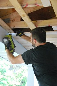How To A Diy Cedar Lined Porch Ceiling How To A Diy Cedar Lined Porch Ceiling Diy How To Porches Wall Decor Woodworking Projects Porch Wall Decor, Porch Ceiling, Plank Ceiling, Ceiling Decor, Ceiling Ideas, Porch Wood, Diy Porch, Porch Ideas, Balcony Ideas
