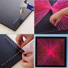 Leuk om zelf te maken | Super leuk schilderij maken je hebt: spijkers een zwarte vierkante palnk en draad (of wol) nodig. Door nienke.huurneman