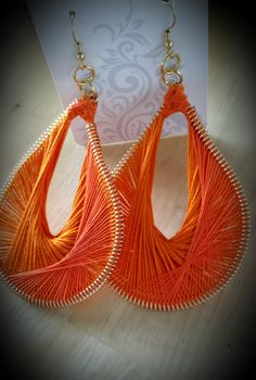 Orange Peruvian Thread Earrings by SoSweetSoSassy on Etsy, $16.00