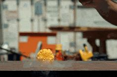 A carnation, frozen with dry ice, smashed in slow motion by a hammer