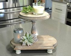 Thrift Store Outfits, Thrift Store Crafts, Online Thrift Store, Farmhouse Style, Farmhouse Decor, Cupcake Display Stand, Tiered Stand, Wood Tray, Weathered Wood