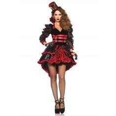Victorian Vamp korte jurk kostuum met hoed zwart/bordeaux rood - Kostuum Party Halloween - L - Leg Avenue