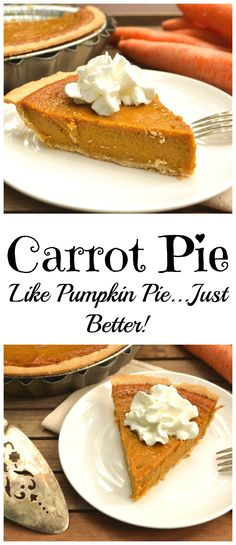 Carrot Pie Like pumpkin pie? You're gonna love this carrot pie! Sweet, creamy, perfectly spiced and it's easier to make! Perfect for Thanksgiving & Christmas desserts Desserts Nutella, Köstliche Desserts, Delicious Desserts, Dessert Recipes, Yummy Food, Snacks Recipes, Easter Desserts, Plated Desserts, Smores Dessert