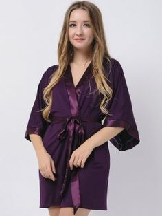 Eggplant Jersey Stretchy Robes With Satin Trim Purple Robes Bridesmaid Robes Modal Bridal Party Gifts Maternity Robe Bridal Robes Dark Winter, Bridesmaid Robes, Bridal Robes, Party Gifts, Eggplant, Satin, Wedding Ideas, Purple, Women