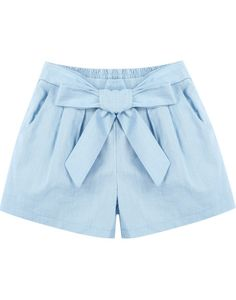 Blue Elastic Waist Bow Pockets Shorts pictures