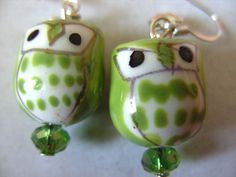 LIME Green kiwi green white ceramic OWL earrings by NewellsJewels, £4.50