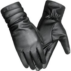 317eb785ae1c6 LETHMIK Winter Faux Leather Gloves Womens Driving Touchscreen Texting with  Long Wrinkle Sleeves