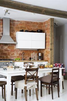 the wall Decor, Furniture, Cabin Life, Interior, Home, Deco, Brick And Stone, Table, Kitchen