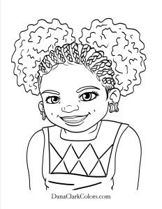 Cute Braids And Puffs Free Coloring Page Freecoloringpage Diversecoloringpage Africanamericancoloringpage Blackhistorymonthcoloringpage