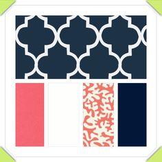 Reserved listing,Custom Crib Bedding - 2 piece Set, Coral navy and white. $169.00, via Etsy.