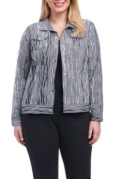 7bdc9451bfa Foxcroft Tina Crinkle Gingham Jacket (Plus Size)