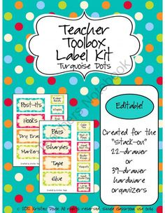 Teacher Toolbox (Editable!) - Turquoise Dots from Chalk & Apples on TeachersNotebook.com (3 pages)  - A full set of editable labels for the Teacher Toolbox that has been circulating on Pinterest. These are for the 22- or 39-drawer organizer.