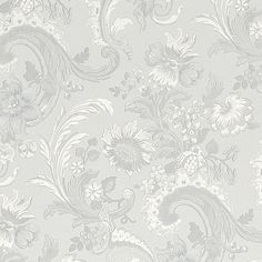 Baroque Wallpaper in Silver - Wallpaper - Category - Homewares Pattern Fashion, Baroque, Home Furnishings, Fabric Design, Tapestry, Wallpaper, Beautiful, Patterns, Home Decor