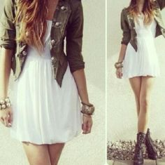 Cute outfit. White dress, green jacket and combat boots.