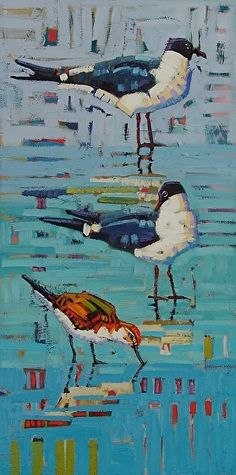 """Seagulls And A Sandpiper,"" by Rene' Wiley by Rene' Wiley Gallery Oil ~ 24 x 12"