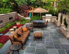 Slate Patio, Small Patio Patio Landscaping Network Calimesa, CA - For the built in Grill Backyard Seating, Backyard Patio Designs, Deck Pergola, Roof Deck, Backyard Layout, Gazebo, Outdoor Rooms, Outdoor Living, Indoor Outdoor