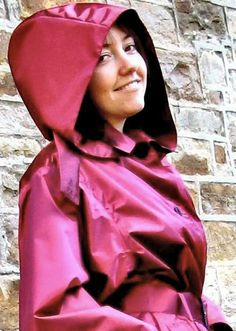 Red Satin Rubber Hooded Raincoat